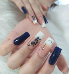 Nail Art Designs, Square Nail Designs, Cute Acrylic Nails, Cute Nails, Pretty Nails, Hair And Nails, My Nails, Marble Nail Art, Nail Polish Art