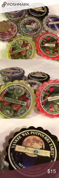Potpourri Tarts Bundle! Bundle of 8 Yankee Candle wax potpourri tarts!  2 Country Heather, 1 Storm Watch, 1 Strawberry Kiwi, 1 Raspberry, 1 Midsummer's Night, 1 Eucalyptus & 1 Lilac. The labels have seen better days but they are all sealed! Bundle & save, no trades!! Yankee Candle Other
