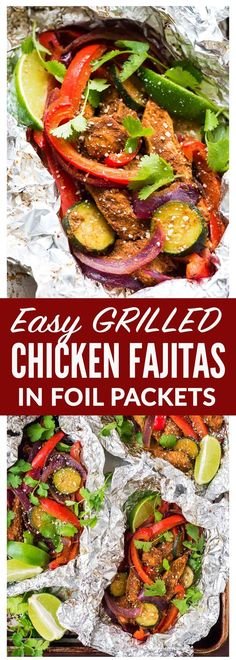 EASY Grilled Chicken Fajitas in Foil Packets. Better than a restaurant! Perfect for fast, healthy summer dinners. No special spice packet required. This is a simple recipe you can whip up any night of the week! Add peppers, onions, zucchini, or any of you Foil Packet Dinners, Foil Pack Meals, Foil Dinners, Foil Packet Recipes, Grilled Chicken Fajitas, Grilled Chicken Recipes, Le Diner, Grilled Vegetables, Bbq Vegetables
