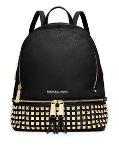 Michael Michael Kors Rhea Studded Leather Backpack Women's Black