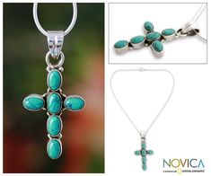 Six magnesite ovals bring their heavenly color to a lovely necklace. Handcrafted of sterling silver, this necklace by Shanker evokes the sky.