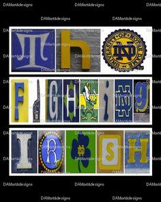 Notre Dame Fighting Irish Framed Alphabet Photo Art