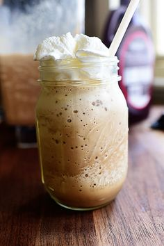 Homemade Frappuccino  A must try! Can't wait but I'm out of coffee :/ 10+ for the mason jar upcycles