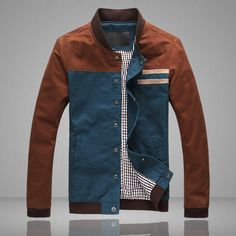 Men's spring jacket men cultivating the trend of casual men jacket fashion spell color round neck-inJackets from Apparel & Ac...
