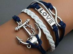 Jirong Pulsera de plata del infinito - Love Bracelet - Pulsera Anchor Cuerdas Pulsera linda del encanto del brazalete personalizado 2409r