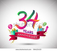 34th Anniversary Celebration Design, with gift box and balloons, Red ribbon, Colorful Vector template elements for your, thirty four years birthday celebration party.