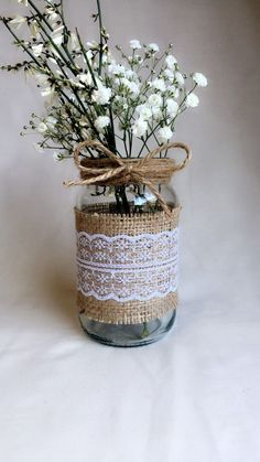 Gadgets just like 8 10 15 x Hessian Lace Twine Wrapped Marriage ceremony Flower Jars Multi Itemizing on Etsy - Hochzeitsblumen Vintage Wedding Centerpieces, Wedding Table Flowers, Mason Jar Centerpieces, Wedding Tables, Rustic Centerpieces, Centerpiece Ideas, Lace Mason Jars, Mason Jar Crafts, Bottle Crafts
