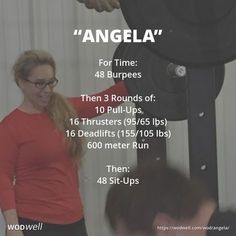"""""""Angela"""" WOD - For Time: 48 Burpees; Then 3 Rounds of:; 10 Pull-Ups; 600 meter Run; 48 Sit-Ups Wods Crossfit, Crossfit At Home, Crossfit Baby, Fun Workouts, At Home Workouts, Wod Workout, Sandbag Workout, Spartan Workout, Workout Challenge"""
