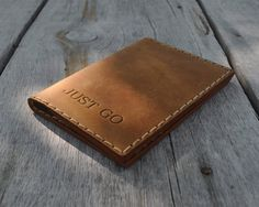 Tan Brown Genuine Leather Passport Cards Holder with by HAPPER