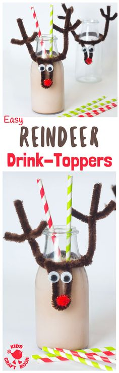 REINDEER CHRISTMAS BOTTLE TOPS This easy reindeer craft makes bottles fun and festive. Pop them on kids milk bottles, fizzy pop or even wine for the grown ups! Make them wider for glasses too. A fun Christmas craft for kids. #reindeer #rudolf #christmas #christmascraft #diy #bottletops #kidscrafts #christmasideas #ornaments #kidscraftroom via @KidsCraftRoom