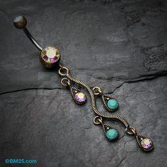 Vintage Brass Burnish Vine Swirl Belly Button Ring