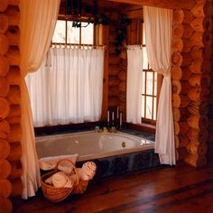 Stunning use of the rustic cabin bathroom. Love the tub in the floor. Stunning use of the rustic cabin bathroom. Love the tub in the floor. Rustic Cabin Bathroom, Rustic Bedroom Design, Rustic Bathrooms, Rustic Design, Log Cabin Bathrooms, Cabin Design, Bedroom Designs, Log Cabin Homes, Log Cabins