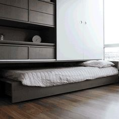 ORI by Yves Béhar and MIT Media Lab. The Ori system operates a compact module that incorporates a bed and a closet on one side, and a home office and an entertainment suite on the other. Furniture, Apartment Living, Small Spaces, Interior, Home, Home Furniture, Ikea And Hay, Tiny Apartments, Space Saving Furniture