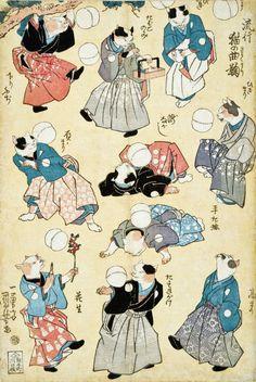 Fashionable Cats Juggling Balls | ukiyō-e woodblock print, c. 1841 | Utagawa Kuniyoshi