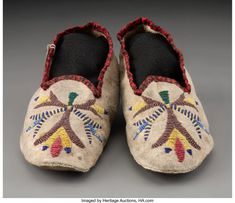 For Auction: 70571: A Pair of Santee Sioux Beaded Hide Moccasins wi (#70571) on Nov 20, 2020   Heritage Auctions in TX Native American Moccasins, Sioux, Baby Shoes, Auction, Pairs, Flats, Design, Loafers & Slip Ons, Baby Boy Shoes