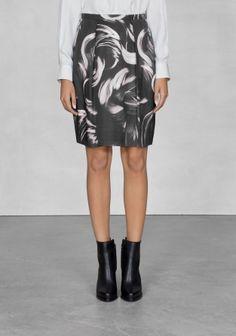 Brushstroke print skirt