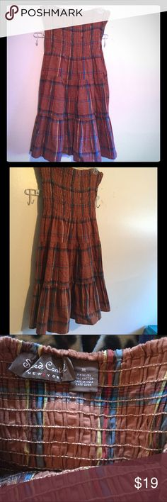 NWOT Speed Control Tube Dress in Plaids Pretty Plaid dress with elastic, stretch top in multi tiered ruffles with plaids in Brown, blues, golds in an XL New and never worn Speed Control Dresses Strapless