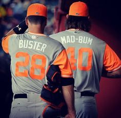Buster Posey and Madison Bumgarner during Player's Weekend.