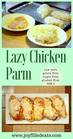 Lazy Chicken Parm – Baked Parmesan. It is low carb, sugar, and gluten free, and THM S.