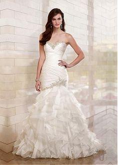 Glamorous Organza Satin & Satin Mermaid Strapless Sweetheart Drop Waist Beaded Lace Appliques Wedding Gown