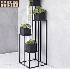 American indoor balcony succulents Iron Flower Stand Simple floor-tall flower pot rack multifunction