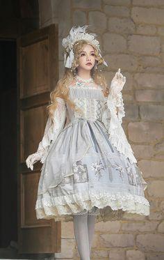 Miracles -Ode To The Cross- Vintage Classic Lolita Jumper Dress - Briar Wood & Brindle - Brautkleider Set Fashion, Moda Fashion, Vintage Fashion, Fashion Design, Estilo Lolita, Gothic Lolita Dress, Gothic Lolita Fashion, Lolita Style, Gothic Fashion