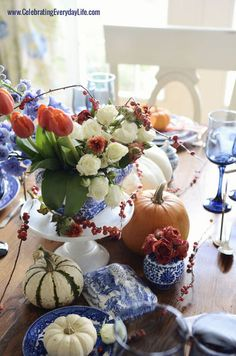 Milk Glass Cake Stand with Blue Transferware for a Fresh Autumn Display ~ Mary Walds Place - Hometalk | A Blue Willow Thanksgiving Table