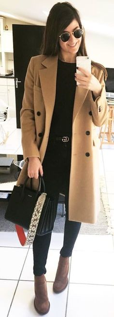 a514222d30a8d  spring  outfits woman in brown coat standing. Pic by  ig chachachou Spring  Outfits