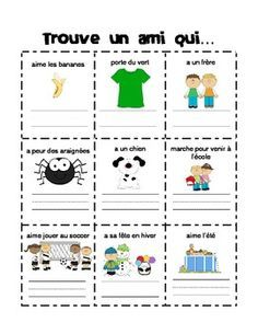 Trouve un ami qui. (Find Someone Who. in French) Who In French, First Week Of School Ideas, Classroom Management Techniques, French Grammar, Core French, French Classroom, Kindergarten First Day, French Resources, French Immersion
