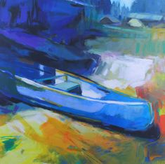 Can You Canoe 1, acrylic painting by Becky Holuk | Effusion Art Gallery + Glass Studio, Invermere BC River Painting, Boat Painting, Modern Art, Contemporary Art, Mountain Paintings, Canadian Artists, Canoe, Impressionist, Landscape Paintings