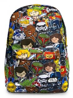 """Star Wars Cartoon Multi Character"" Backpack by Loungefly (Multi) #inkedshop #starwars #cartoon #bookbag #backpack"