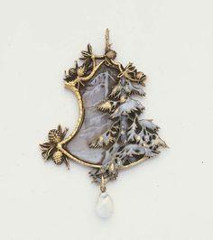 René Lalique. Enamel, Glass, Pearl and Gold Winter Landacape Pendant,  c.1900 via Christie's