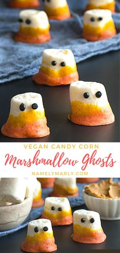 Halloween is fast approaching! Make the holiday more fun and spooky with this vegan Candy Corn Marshmallow Ghosts! Made of vegan marshmallows, almond butter, coconut oil, plant-based milk and other fun ingredients—it's the best ghoulish treat for your Halloween party!   #vegancandycorn #marshmallowghosts #veganmarshmallows #veganhalloween #namelymarly Vegan Sandwich Recipes, Vegetarian Breakfast Recipes, Vegan Dessert Recipes, Delicious Vegan Recipes, Candy Recipes, Holiday Recipes, Snack Recipes, Kitchen Recipes, Vegan Candy Corn