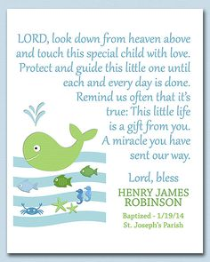 Blue and green nautical baptism gift nursery art by SednaPrints, $13.50