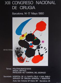 Joan Miró Original Artist Poster 1980 – Art & Vintage Store Ltd Spanish Painters, Spanish Artists, San Antonio, Museum Poster, Creative Poster Design, Original Vintage, Barcelona, Poster Design Inspiration, Exhibition Poster