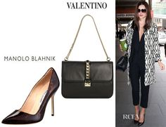 Miranda Kerr's Manolo Blahnik Tortoise Patent Leather Pumps And Valentino Grande Lock Shoulder Bag