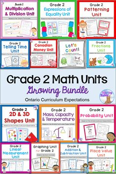 This Grade 2 Math bundle is aligned with the Ontario Curriculum and contains lesson ideas, worksheets, activities, posters, assessments, task cards, quizzes, and games. The units are: Place Value, Canadian Money, Counting, 2D&3D Shapes, Patterning, Graphing, Telling Time, Measurement, Fractions, Expressions of Equality, Probability, Addition & Subtraction, Multiplication & Division, and Mass, Capacity & Temperature!