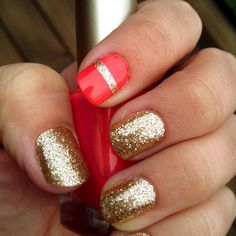 valentine's day nail ideas - coral pink gold sparkle