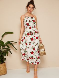 Product name: Braid Strap Faux Pearl Detail Floral Cami Dress at SHEIN, Category. - Product name: Braid Strap Faux Pearl Detail Floral Cami Dress at SHEIN, Category: Dresses Source by - Smock Dress, Tee Dress, Belted Dress, Dress Long, Swing Dress, Moda Floral, Ditsy Floral, Casual Summer Dresses, Dress Casual