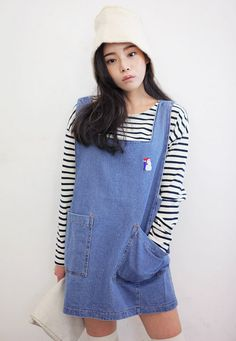 eaa0471bfea  Stylenanda  Denim Dress with Snowman Embroidery