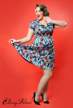 Paige - Bloom Navy & Red Floral