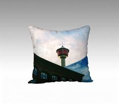 Throw Pillow Case - Calgary Tower Downtown - Cushion Cover - Made in Canada - by KarenMakes on Etsy by KarenMakes1 on Etsy