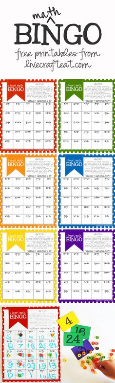 a fun back-to-school addition & subtraction bingo game for kids. 6 printable bingo cards with math questions equaling 1-25. free printables!