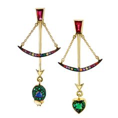 Daniela Villegas Follow Your Arrow earrings with tourmaline, emerald and multi-coloured sapphires. Discover our favourite independent jewellery designers of 2016 that are pushing the boundaries of design, style and fashion: http://www.thejewelleryeditor.com/jewellery/article/best-independent-jewellery-designers-2016/ #jewelry