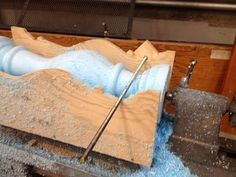 handverker: wood lathe: duplicating jig Turning wood with a threaded rod instead of a chisel