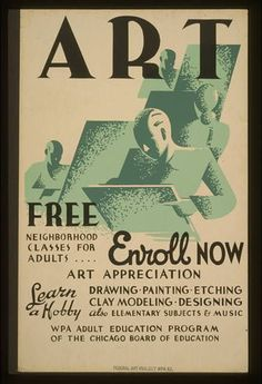 Art Education,WPA Adult Education,Chicago Board of Education,Easels,Illinois,IL