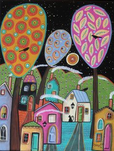 Evening Splendor 11x14inch ORIGINAL CANVAS PAINTING  houses cat Folk Art Karla G #FolkArtAbstractPrimitive