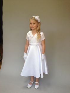 Orchid Holy Communion dress by Trumpets and Tiaras Communion Shoes, Holy Communion Dresses, Trumpets, Holi, Ballerina, Orchids, Flower Girl Dresses, Satin, Wedding Dresses