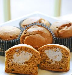 cinnamon cream cheese stuffed pumpkin muffins... hmm should I make healthy muffins or delicious muffins?!