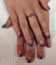 American Red, white & blue Gel Nails by Janee Tittensor @ www.awildhairsalonreno.com